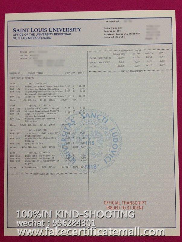 Buy a degree Saint Louis University degree transcript-Fake